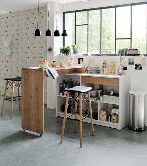 dry kitchen, grey seamless floor, white wall, white tufted wall, black small pendants, white shelves, wooden island, wooden stools with black leather cushion