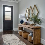 Entrance, Wooden Floor, Grey Wall, Wooden Console Table, Rattan Baskets, Diamond Mirrors, Black Table Lamp, Black Door, Crystal Pendant