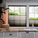 Flexible Black Shade From The Bottom, White Subway Wall Tiles, White Bottom Cabinet, Brown Marble Counter Top