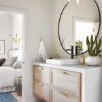 Floating Bathroom Vanity With White Counter Top, Wooden Drawers, White Wall, Large Round Mirror, White Wooden Floor