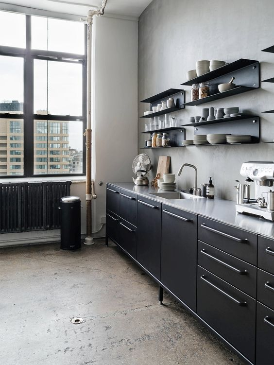 kitchen, grey wall, grey floor, black bottom cabinet, grey counter top, black open shelves