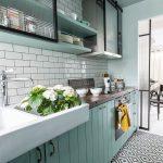 Kitchen, Mint Green Bottom Cabinet, White Subway Backsplash, White Sink, Green Shelves, White Wall, Black And White Floor Tiles