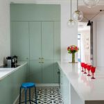 Kitchen, Mint Green Cupboard, Min Green Bottom Cabinet, White Island, Glass Pendant, Patterned Floor, Patterned Rug