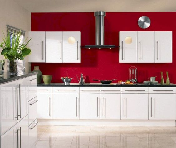 kitchen, red wall, white cabinet, white upper cabinet, black counter top