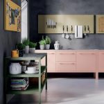 Kitchen, Seamless Grey Floor, Grey Wall, Pink Bottom Cabinet, Magnetic Board, Green Shelves, Yellow Board