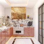 Kitchen, White Floor, Pink Wooden Bottom Cabinet, Marble Backsplash, White Wall, Golden Cover