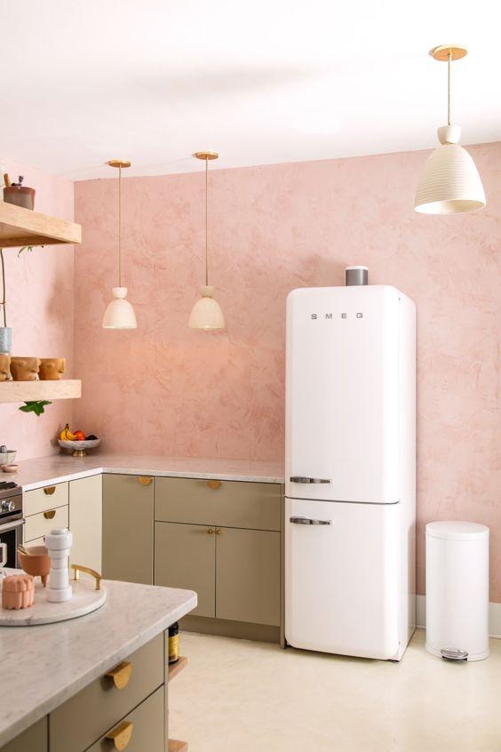 kitchen, white floor, soft pink wall, white fridge, soft green bottom cabinet, floating shelves