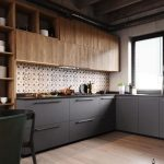 Kitchen, Wooden Floor, White Wall, Brown Patterned Backsplash, Wooden Upper Cabinet, Black Bottom Cabinet, Black Marble Top