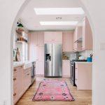 Kitchen, Wooden Floor, White Wall, Soft Pink Shelves, Pink Rug