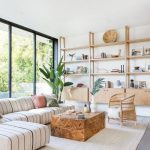 Living Room, Grey Floor, Striped Sofa, Wooden Coffee Table, Wooden Shelves, Large Glass Window