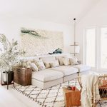 Living Room, Light Wooden Floor, White Wall, White Ceiling, White Sofa, Wooden Side Cabinet, Wooden Table, Rattan Chairs