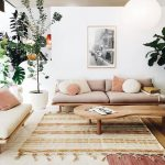 Living Room, White Seamless Floor, Brown Rug, Wooden Bench With White And Purple Cushion, Wooden Coffee Table, White Wall, White Lantern Pendant