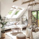 Living Room, Wooden Floor, White Sofa, White Wall, White Ceiling, Wooden Beams, Rattan Swing Chair, Nesting Table, Ottoman