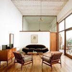 Open Living Room, Wooden Floor, Green Velvet Sofa, Wooden Chairs With Cushion, Wooden Cabinet, Pendant, Glass Widow, Glass Door