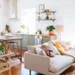 Open Living Room, Wooden Floor, White Wall, Mint Green Bottom Cabinet, Floating Shelves, Wooden Table