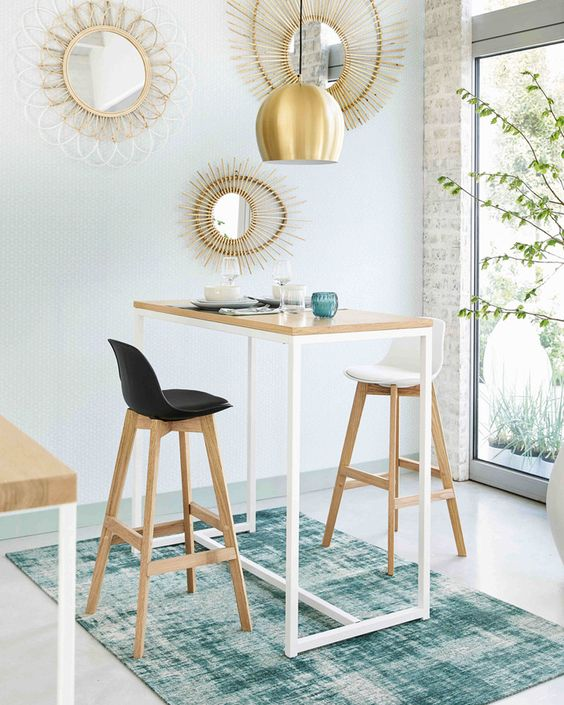 simple and slim dining table, stools with seating with back rest, white wall,  golden pendant, white exposed wall, large glass window