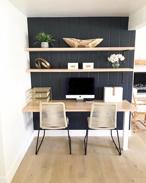 study, black wooden wall, white wall, wooden floating shelves, wooden table, ratan seat chair