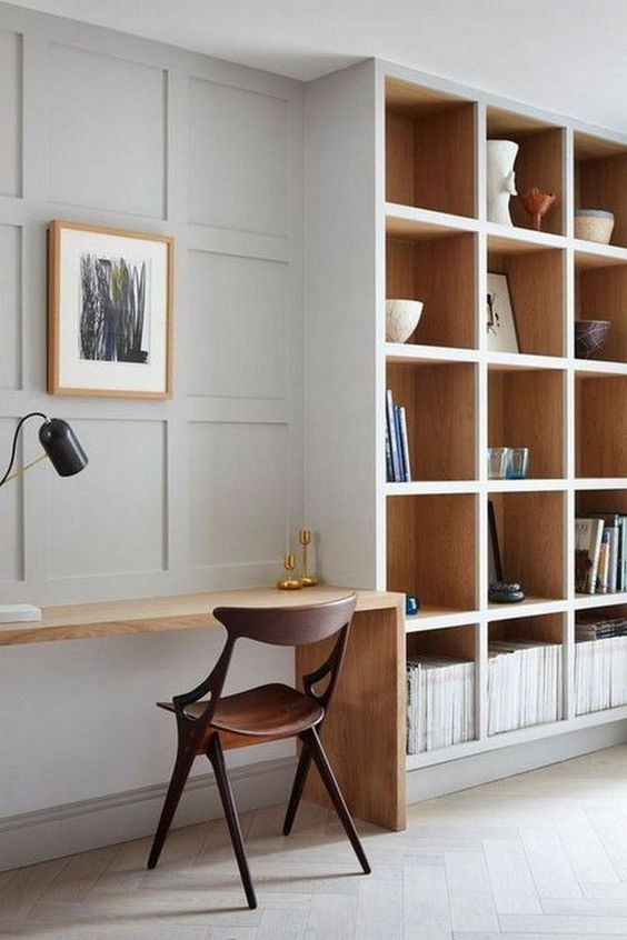 study, grey wall, grey shelves, grey wooden floor, wooden table, wooden chair, black talbe lamp
