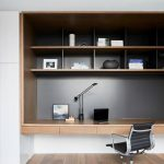 Study On Hallway, Wooden Floor, Floating Shelves Table, Black Background, White Wall, Black Office Chair