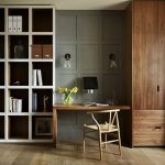 Study, Wooden Floor, Grey Wall, Wooden Cupboard, White Shelves, Wooden Table, Wooden Chair, Glass Sconce