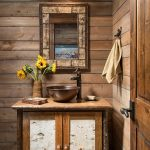 Vanity, Wooden Wall Planks, Wooden And Mable Vanity Cabinet, Dark Copper Sink, Wooden Framed Mirror, Orange Blue Sconces