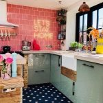 Vintage Kitchen, Mint Green Counter, White Top, Pink Wall Tiles, Navy Patterned Floor Tiles, White Wall