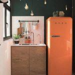 Vintage Kitchen, White Wall, Green Wall, Wooden Cabinet, Orange Fridge, Pendants, Patterned Floor