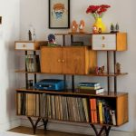 Vintage Wooden Shelves With Cabinet