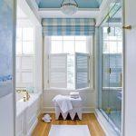 White Wooden Window Shutters, Blue White Plaid Curtain, White Wall, Blue Ceiling, Wooden Floor, White Tub