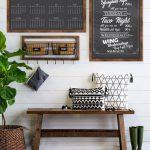 Wooden Bench, Dark Wooden Floor, White Wooden Wall Plank, Blackboards, Rattan Rug, Rattan Pots