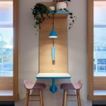 Wooden Floating Mounted Table Wth Blue Lines, Wooden Shelves, Pink Stools