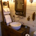 Wooden Vanity, White Wooden Wall Planks, Wooden Rack, Wooden Counter Top, White Bowl Sink, Sconces