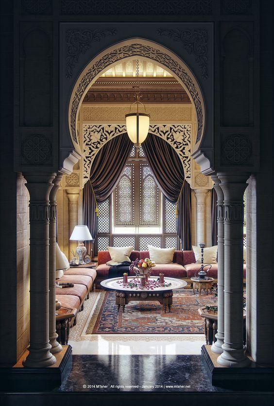 arch, carved details, black floor, marble floor, golden living room