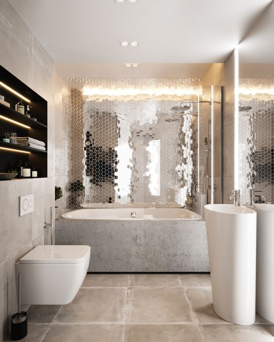 bathroom, cream floor tiles, whtie floating toilet, white round sink, grey tub, black indented shelves, metallic tiny walls