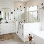 Bathroom, Cream Hexagonal Floor Tiles, White Wall Planks, White Planks Partition, White Cabinet, White Tub