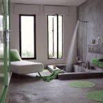 Bathroom, Grey Floor, Grey Wall, Glass Window, Indented Tub On The Floor, White Lounge Chair, Green Rug