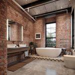 Bathroom, Grey Seamless Floor, Exposed Brick Wall, Floating Vanity, White Sink, White Tub, Tall Glass Window, White Toilet