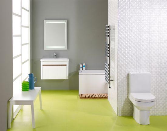 bathroom, lime rubber flooring, white toilet, white floating cabinet, white tube, white wall tiles