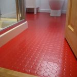 Bathroom, Red Rubber Flooring, White Wall, Wooden Door, White Toilet