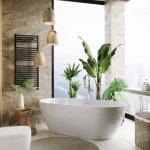 Bathroom, White Floor, Brown Marble Wall, White Tub, White Toilet, Golden Pendant