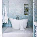Bathroom, White Patterned Floor Tiles, Blue White Tiny Wall Tiles, White Tub, Mirror