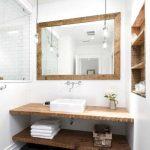 Bathroom, White Wall, Wooden Framed Mirror, Pendants, Wooden Floating Vanity And Shelves, Wooden Indented Shelves