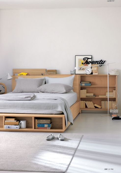 bed platform with shelves, additional shelves on the side, grey bedding, wooden material, grey seamless, grey rug