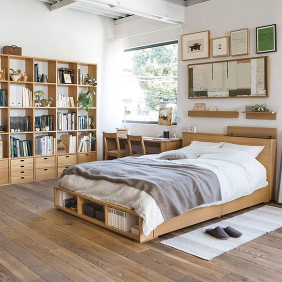 bed platform with shelves, wooden material, wooden floor, white wall, wooden shelves,