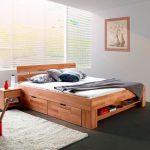 Bed Platform, Wooden Material, Black Floor, Grey Wood, Cream Rug, White Bedding