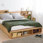 Bed Platform, Wooden Material, Shelves, Drawers, Side Shelves, White Bedding, White Table Lamp