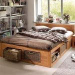 Bed Platform, Wooden Material, Shelves, Storage With Rattan Basket, Seamless Floor, White Rug, Metal Shelves