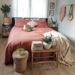 Bedroom, Wooden Floor, Pink Bed, Mint Green Wall, Side Table, Rattan Basket, Wooden Bench