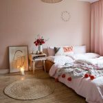 Bedroom, Wooden Floor, Round Rattan Rug, Pink Wall, Pink Curtain, Rattan Pendant
