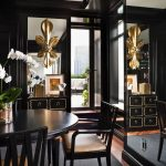 Black Dining Room, Wooden Floor, Black Rug, Black Cabinet, Black Dining Table, Black Chairs